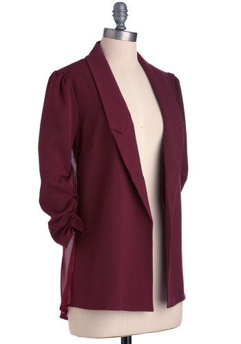 Styling Nine to Five Blazer - Mid-length, Menswear Inspired, Purple, Solid, Pleats, 3/4 Sleeve, Work, 1, Girls Night Out, Sheer