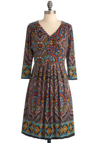 The Way You Groove Dress - Mid-length, Print, Pleats, A-line, Long Sleeve, Vintage Inspired, 70s, Multi