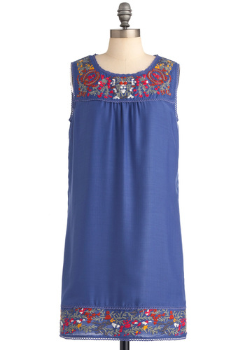 Paradigm Shift Dress - Short, Blue, Solid, Embroidery, Shift, Sleeveless, Red, Yellow, Floral, Scallops, Vintage Inspired, 60s