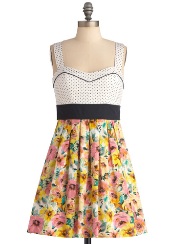 Prints and the Poppies Dress - Multi, Polka Dots, Floral, Pleats, Twofer, Tank top (2 thick straps), Pinup, Vintage Inspired, Party, Spring, Short