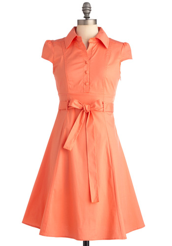 Soda Fountain Dress in Papaya - Mid-length, Orange, Solid, Buttons, Pockets, Shirt Dress, Cap Sleeves, Casual, Rockabilly, 50s, Spring, Summer, Work, Belted, Button Down, Collared, Fit & Flare, Coral