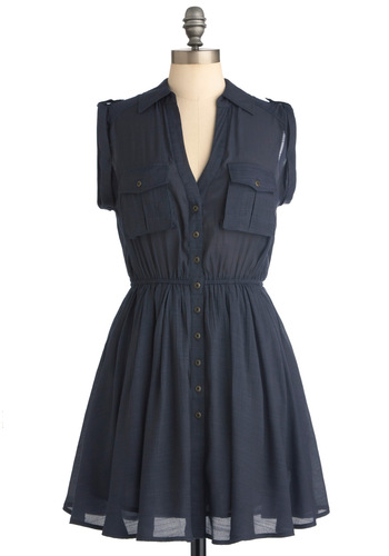 Riverboat Romance Dress - Short, Blue, Solid, Pockets, Casual, Vintage Inspired, Buttons, Military, A-line, Cap Sleeves, Button Down, Fit & Flare, V Neck