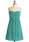 Tea for Tulip Dress - Green, White, Print, Buttons, A-line, Strapless, Mid-length, Sweetheart