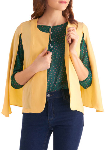 Zest Dressed Cardigan - Vintage Inspired, Yellow, Solid, Spring, Mid-length