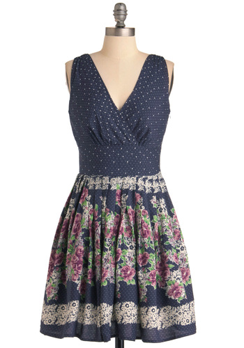 Garden Cafe Dress - Casual, Blue, Multi, Floral, Pleats, A-line, Sleeveless, Pink, Tan / Cream, Polka Dots, Spring, Mid-length