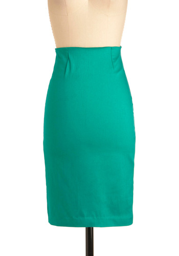 Someone To Depend Lawn Skirt by Motel - Mid-length, Work, Pinup, Green, Solid, Exposed zipper, Rockabilly