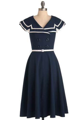 Shore to Love Dress - Long, Nautical, Blue, White, Solid, Buttons, Pleats, A-line, Cap Sleeves, Trim, Vintage Inspired, 50s, Spring