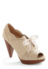 I've Taken a Shine to Shoe by Poetic License - Vintage Inspired, Tan, Solid, Polka Dots, Bows, Woven
