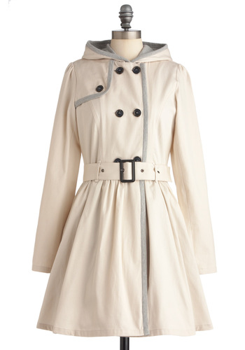 Gal Fresco Coat - Long, Casual, Safari, Urban, Cream, Grey, Buckles, Buttons, Pockets, Long Sleeve, 2.5