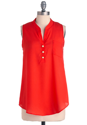 Elegant Errands Top - Long, Casual, Vintage Inspired, Red, Solid, Buttons, Pockets, Sleeveless, Summer