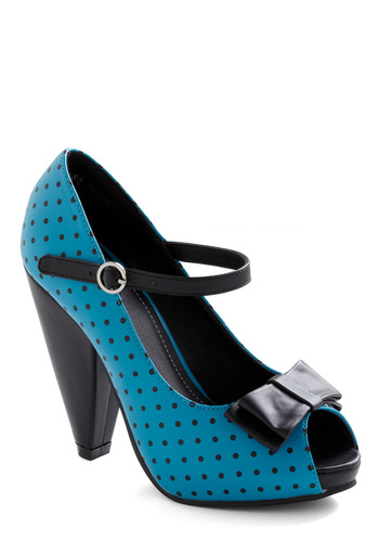 To the Pointillism Heel - Rockabilly, Pinup, Vintage Inspired, Blue, Black, Polka Dots, Bows, Buckles, Prom, Party, 50s, Mid
