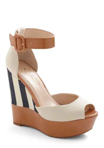 Coast is Clear Wedge - Nautical, Cream, Multi, Blue, Brown, Stripes, Buckles, Casual, Spring, Summer, Wedge