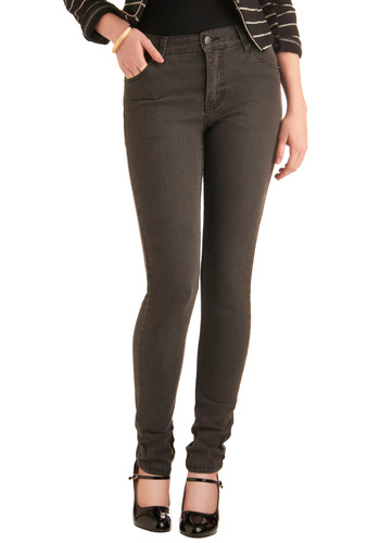 "Grey-t to See You Jeans (32"") - Long, Casual, Urban, Grey, Solid, Pockets, Denim, Skinny"