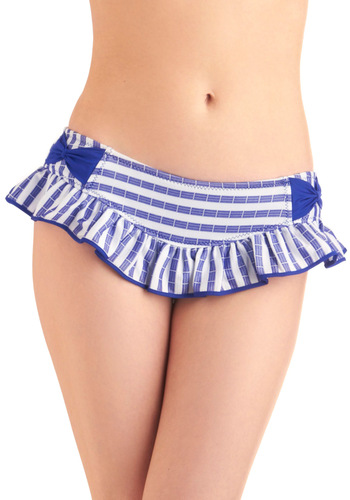 Betsey Johnson Pool of Thought Swimsuit Bottom by Betsey Johnson - White, Stripes, Bows, Ruffles, Blue, Nautical, Summer