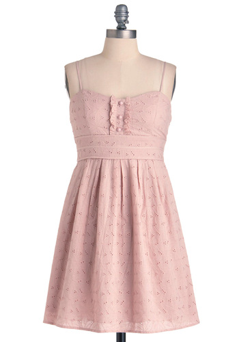 Rhode Eyelet Dress - Casual, Pink, Solid, Buttons, Eyelet, Pleats, Spaghetti Straps, Empire, Short, Pastel, Cotton, Sweetheart