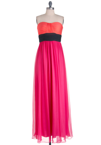 Isle Be Dancing Dress - Long, Formal, Party, Pink, Orange, Black, Pleats, Maxi, Strapless, Statement