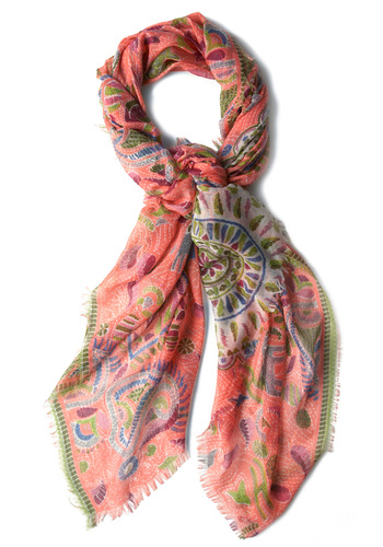 Mediterranean Mosaic Scarf - Pink, Multi, Multi, Print, Fringed, Paisley, Boho, Spring