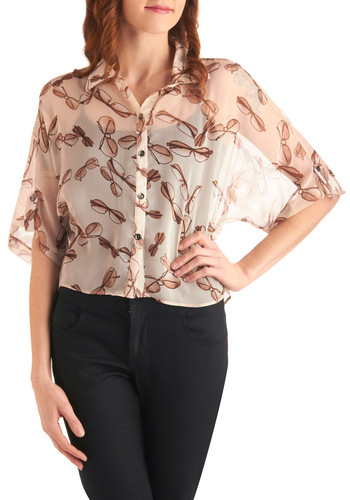 Always on the Sunny Side Top - Short, Cream, Tan / Cream, Novelty Print, Brown, Casual, Menswear Inspired