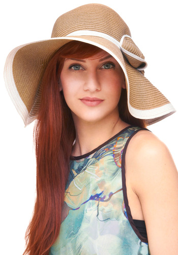 French Riviera Doors Hat - Brown, White, Bows, Casual, Boho, Summer, Travel