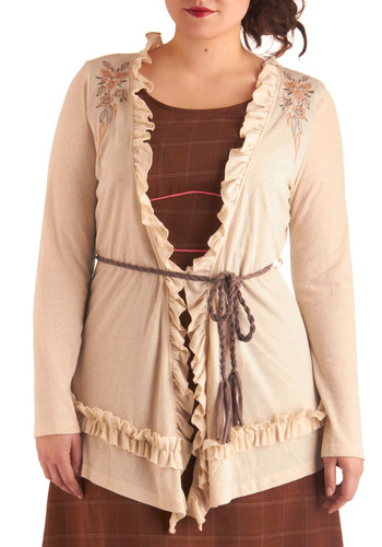Cottage a Glimpse Cardigan in Plus Size - Cream, Pink, Brown, Embroidery, Long Sleeve, Long