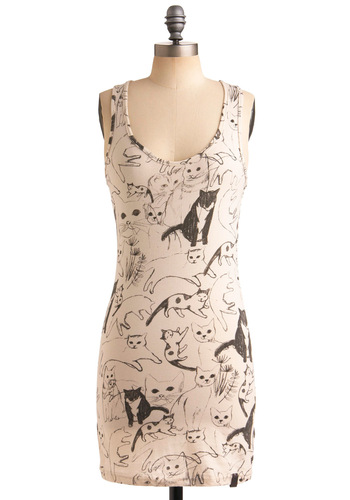 Caturday Tunic by Nümph - Cream, Black, Print with Animals, Novelty Print, Casual, Tank top (2 thick straps), Racerback, Spring, Summer, Long