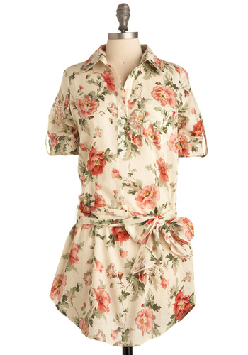 Camellia Cutie Tunic - Yellow, Green, Pink, Tan / Cream, Floral, Casual, 3/4 Sleeve, Spring, Summer, Multi, Long