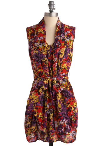 Tickets on Will Call Dress - Floral, Casual, Shift, Sleeveless, Summer, 80s, Multi, Red, Yellow, Purple, Short, Belted
