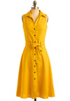 Daffodil Centerpiece Dress - Yellow, Solid, Buttons, Casual, Vintage Inspired, A-line, Shirt Dress, Sleeveless, Spring, Summer, Long, 60s, Press Placement