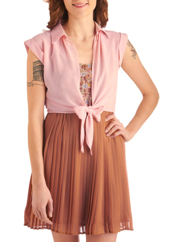 Beauty School Top - Short, Pink, Solid, Bows, Cap Sleeves, Casual, Rockabilly, 50s, Spring