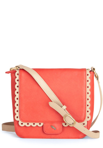 Winsome Wanderer Bag - Pink, Tan / Cream, Buckles, Cutout, Scallops, Vintage Inspired, 50s, Solid, Orange, International Designer