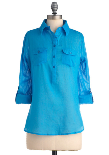 Blouse Party Top in Blue - Casual, Blue, Solid, Pockets, Long Sleeve, Mid-length