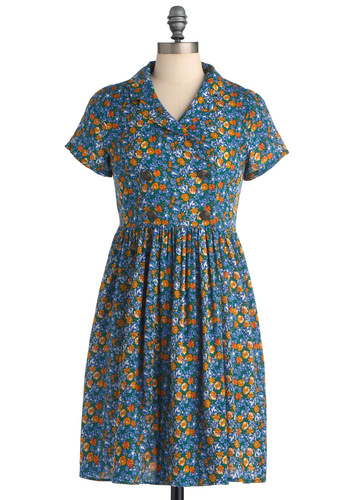 Just Precious Play Dress in Green - Mid-length, Casual, Multi, Floral, Buttons, Pleats, A-line, Blue, 40s, Short Sleeves, Spring, Military