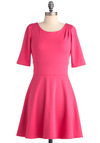 Deep Blue Scene Dress in Pink - Mid-length, Pink, Solid, Pleats, Casual, A-line, 3/4 Sleeve, Minimal, Variation