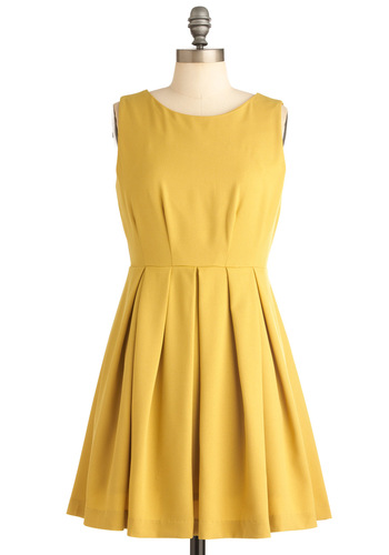 Cue the Compliments Dress in Dandelion - Short, Yellow, Solid, Work, Casual, 60s, A-line, Sleeveless, Spring