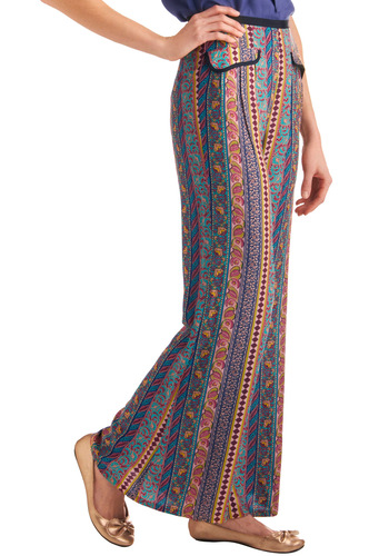 Paisley It Forward Pants - Long, Casual, Boho, Multi, Paisley, Pockets, Trim, Yellow, Green, Blue, Pink, Print, Statement