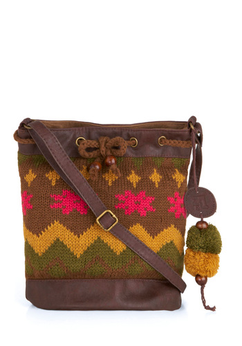 Sack It to Me Bag - Casual, Folk Art, Multi, Yellow, Green, Pink, Print, Buckles, Poms, Brown, Knitted