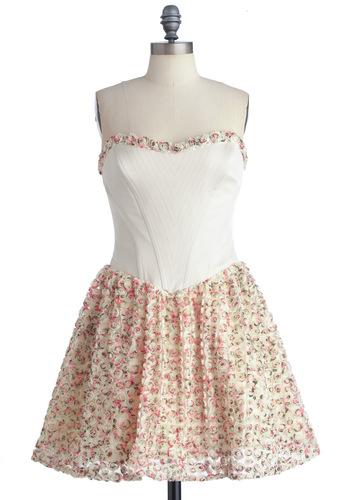 Betsey Johnson Garden of Youth Dress by Betsey Johnson - Prom, Wedding, Party, Statement, White, Multi, Floral, Flower, Strapless, Spring, Formal, White, Mid-length