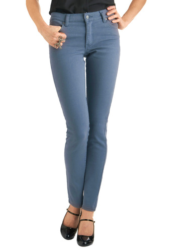 In Your Jeans by Cheap Monday - Long, Casual, Blue, Solid, Pockets, Denim