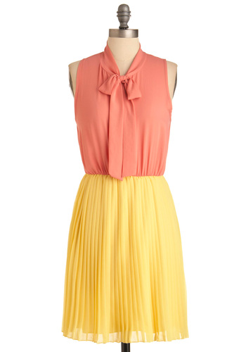 Coral-ly Invited Dress - Mid-length, Work, Vintage Inspired, 60s, 70s, Yellow, Pleats, Twofer, Sleeveless, Orange, Spring, Pastel, Tie Neck, Coral