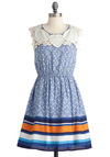 Travel Planning Dress - Mid-length, Blue, Print, Embroidery, A-line, Sleeveless, Orange, White, Stripes