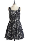 Smooth as Butterfly Dress - Casual, Black, White, Print with Animals, Tank top (2 thick straps), Mid-length