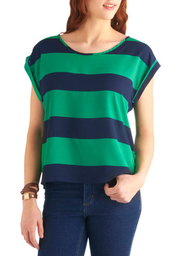 Delightfully Tacking Top - Mid-length, Blue, Stripes, Casual, Nautical, Green, Cap Sleeves
