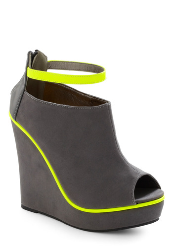 Neon Light Rail Wedge - Urban, Grey, Yellow, Statement, Wedge