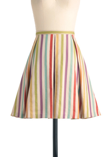 Here in My Carnival Skirt by Eva Franco - Multi, Stripes, Pleats, Casual, Vintage Inspired, Multi, A-line, Summer, Mid-length