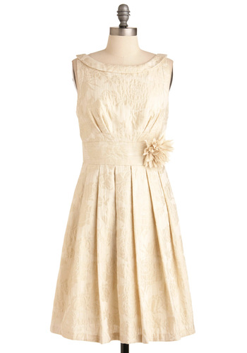 Gilding Light Dress by Eva Franco - Formal, Wedding, Film Noir, Luxe, Cream, Floral, Flower, Pleats, A-line, Sleeveless, Long, Vintage Inspired, 60s, Cocktail, Holiday Party