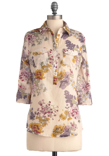 Blouse Party Top in Spring Floral - Multi, Floral, Buttons, Pockets, Long Sleeve, Yellow, Pink, Brown, Tan / Cream, Casual, Spring, Mid-length