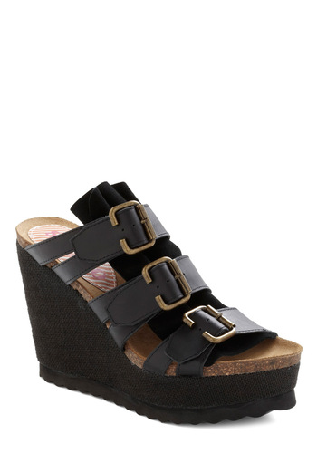 Stop and Wander Wedge by 80%20 - Casual, Safari, Black, Buckles, Summer, Wedge