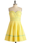 Banana Bubble Tea Dress - Yellow, Blue, Solid, Polka Dots, Embroidery, Pleats, A-line, Strapless, Party, Spring, Mid-length