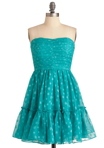 Just the Dot of You Dress - Prom, Party, Polka Dots, A-line, Strapless, Green, Ruffles, Mid-length, Special Occasion