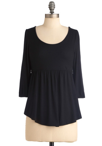 Radio Contest Top in Black - Black, Solid, Crochet, Casual, 3/4 Sleeve, Jersey, Scoop, Mid-length